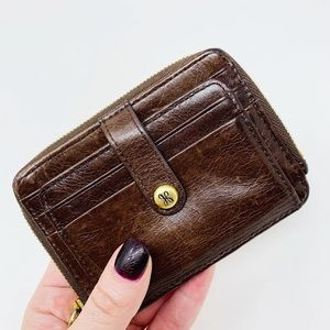 HOBO Poco Credit Card Wallet Brown Leather